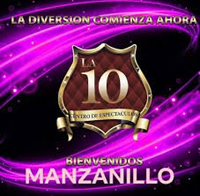 Purple and gold logo of 10, a Manzanillo strip club