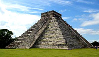 mayan pyramid Chichen Itza with blue skies