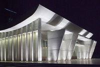 Merida concert hall bathed in silver light