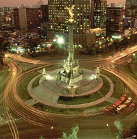 a time exposure of Mexico City traffic at night