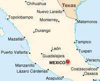 map of central Mexico, including Mexico City, Guadalajara and Mazatlan