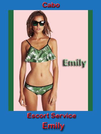 Slender Emily wearing a green bikini