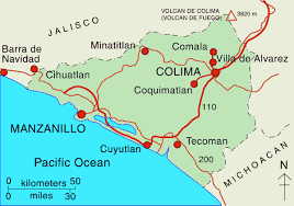 a map of the state of Colima, which includes the city of Colima and Manzanillo
