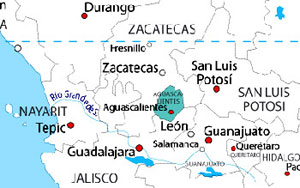 A map of Auguascalientes, both state and city. (Like NY, NY)