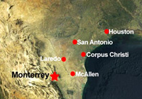 map of northeastern Mexico showing Monterrey in relation to Laredo and McAllen Texas