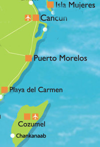 Map showing Playa del Carmen and Cancun