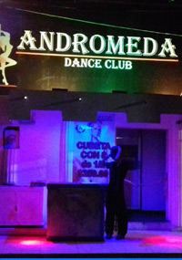 Purple lights of outside the Andromeda Strip Club