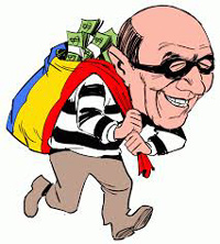 cartoon of corrupt Mexican strip club owner with a bag of loot