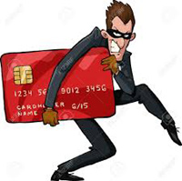 cartoon of credit card thief