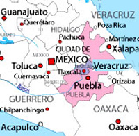 map showing Puebla in relation to Mexico City