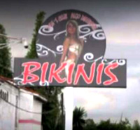 Sign outside Bikinis Strip Club, Puebla