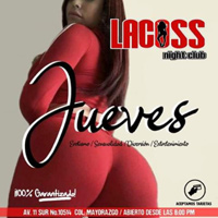 girl showing her ass in tight stretch pants in an ad for Lacoss Strip Club