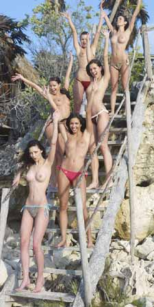 outdoor wooden staircase with six naked girls