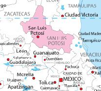 map showing SLP in relation to Mexico City