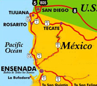 Map of North Baja, showing Tijuana and the U.S. border