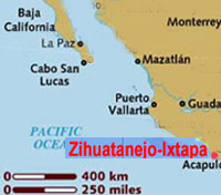 map of the Mexican west coast showing Puerto Vallarta and Zihuatanejo