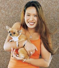 escort holding chihuahua dog